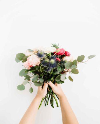 Duurzame kaart boeket bloemen
