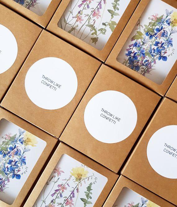 Giftbox met bloemzaad en kaart