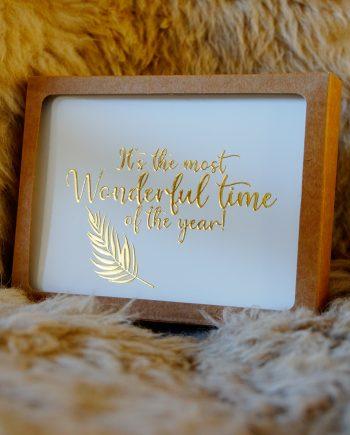Kerstkaart eco met gouden letters