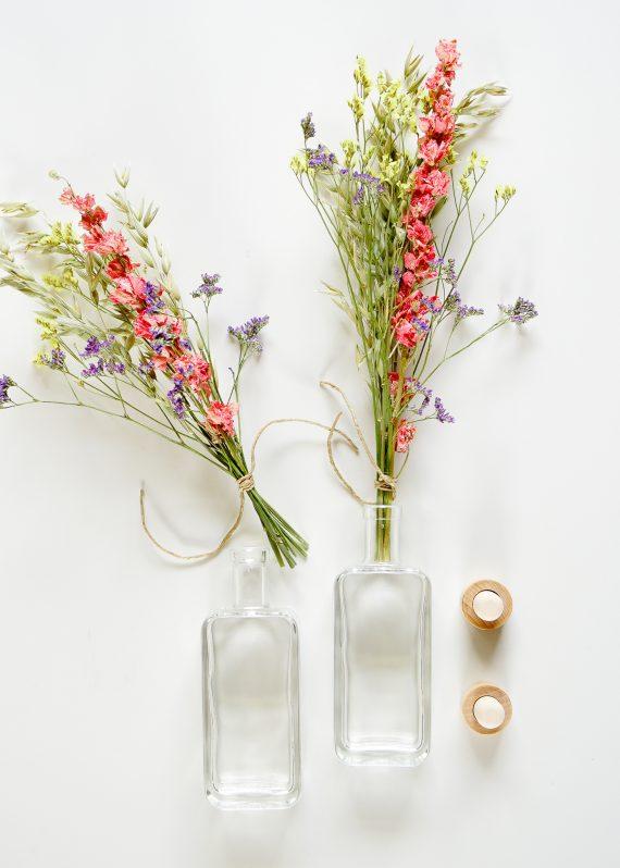 Droogbloemen boeketje met fles