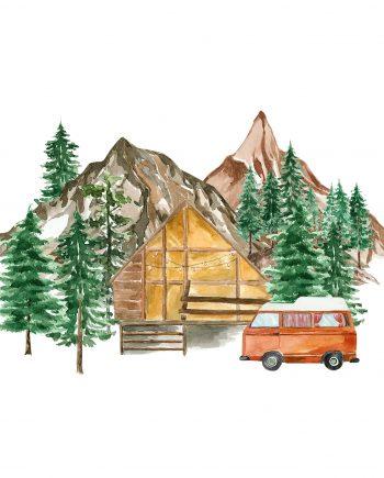 Duurzame kerstkaart christmas cottage
