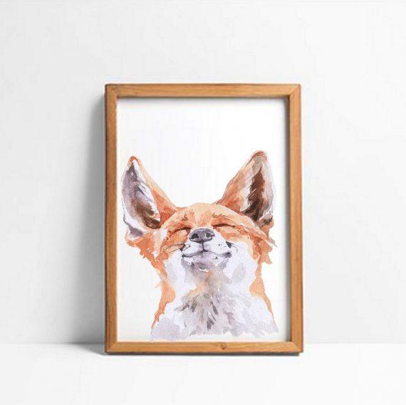 Poster A3 happy fox