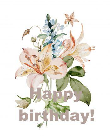 Duurzame verjaardagskaart met bloemen